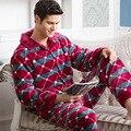 2016 Primavera Inverno Outono Manter Aquecido Homens Pijama de Flanela Grossa Conjunto de Camisola Sleepcoat & Calças Coral Fleece Sleepwear Térmica
