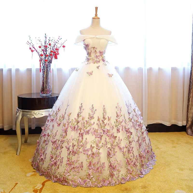 100%real fairy butterflys embroidery cosplay ball gown royal princess Medieval Renaissance Victorian dress Belle ball