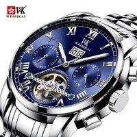 WEISIKAI Novos Homens de Luxo Relógio Mecânico Automático Masculino Relógio Negócio De Aço Inoxidável Relógios Turbilhão watc dos homens reloj