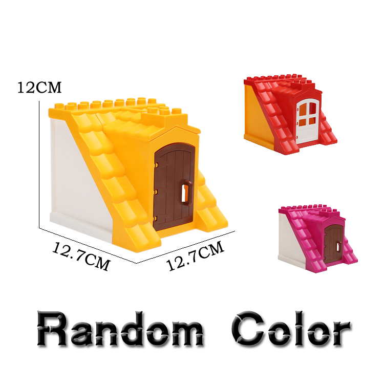 Classic Housetop Bricks Big Particle Building Blocks Original City House Roof DIY Assemble Baby Toys Compatible with Duplo gifts superwit 72pcs big size city diy creative building blocks brick compatible with duplo sets lepin educational toys children gifts