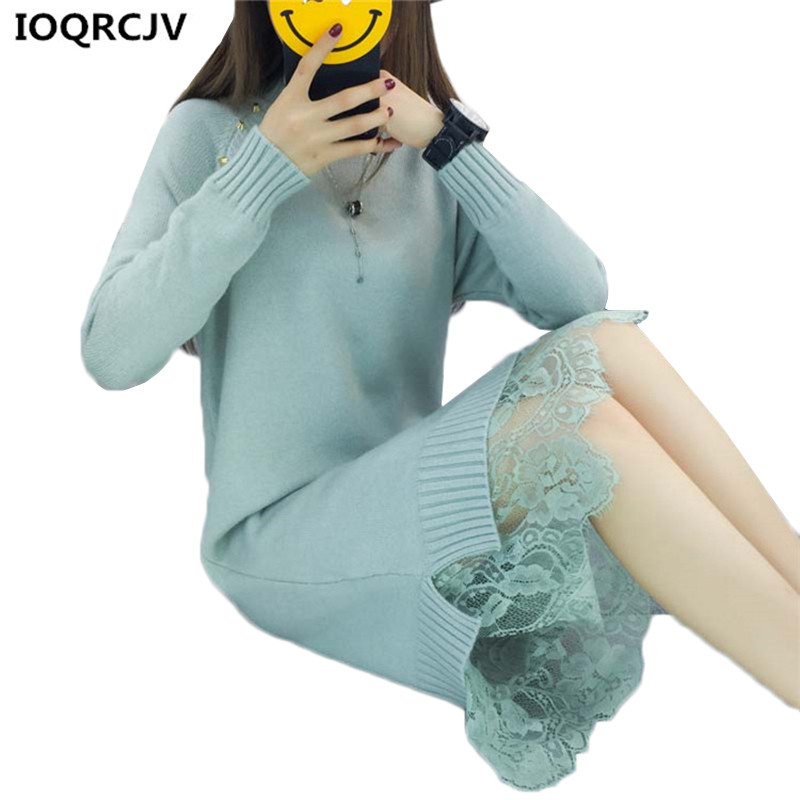 Women Knit Sweater Dress 2018 New Fashion Lace Stitching Long-sleeved Half-collar Warm Bottoming Sweater Women clothing K827 ...