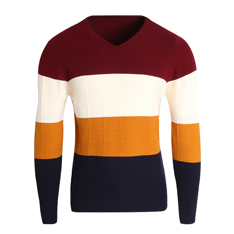 2019 autumn new men's fashion casual v-nevk striped color matching slim warm classics high quality men knit sweater pullover
