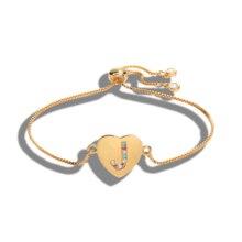 Кубический цирконий 26 Алфавит очаровательный браслет с буквой Femme медный A-Z Начальная цепочка имя браслеты для женщин ювелирные изделия регулируемый