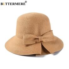 BUTTERMERE Bucket Hat Women Camel Straw Fishing Cap Ladies Solid Bowknot Elegant Female Summer Wide Brim Beach Bob Hats And Caps