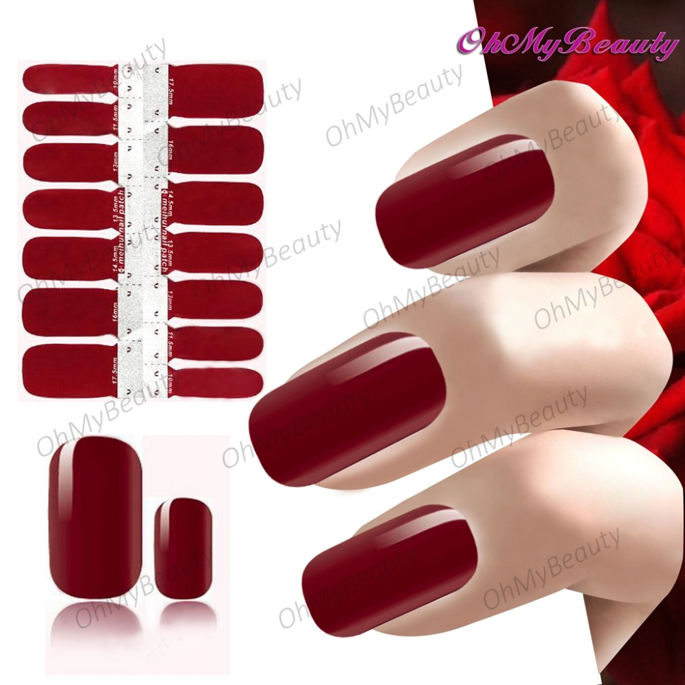 New Nail Art Sticker Self Adhesive Sexy Deep red Color Nails Polish Stickers Manicure Tips Decoration Wraps Beauty Decals 12colors box dried dry flowertips nail 3d nail art decoration uv gel polish stickers manicure tips decals