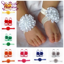 Nishine 3pcs/set Cute Girls Newborn Flower Headband With Ribbon Flower Barefoot Sandal Shoes Set Children Accessories Photoshoot