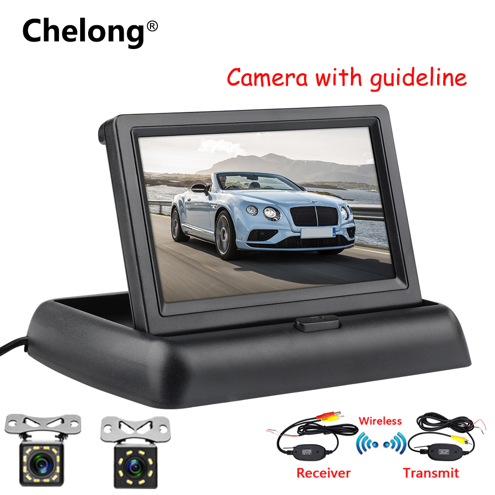 """4.3/"""" Car Rearview Monitor Night Vision Backup Camera KIT Wireless Parking System"""