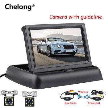 """Câmera de visão traseira do carro invertendo kit sistema estacionamento 4.3 """"polegada tft lcd retrovisor monitor visão noturna câmera backup"""