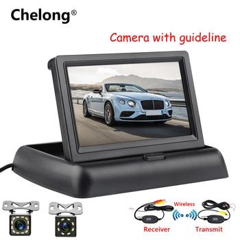 4.3 inch HD Foldable Car Rearview Backup Camera Reverse Backup Monitor Reversing LCD TFT Display 2.4 Ghz Wireless Camera Kits