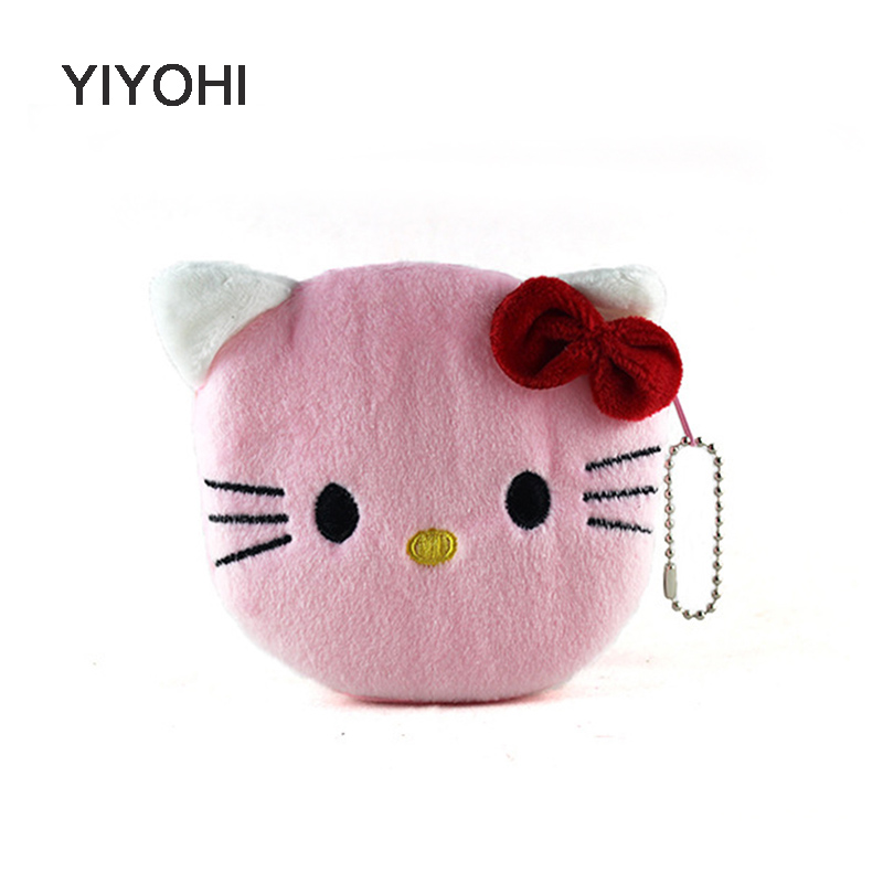 YIYOHI New 2017 Hot Sale Kawaii Cartoon Kitty /Rubbit Children Plush Coin Purse Zip Change Purse Wallet Kids Girl Women For Gift