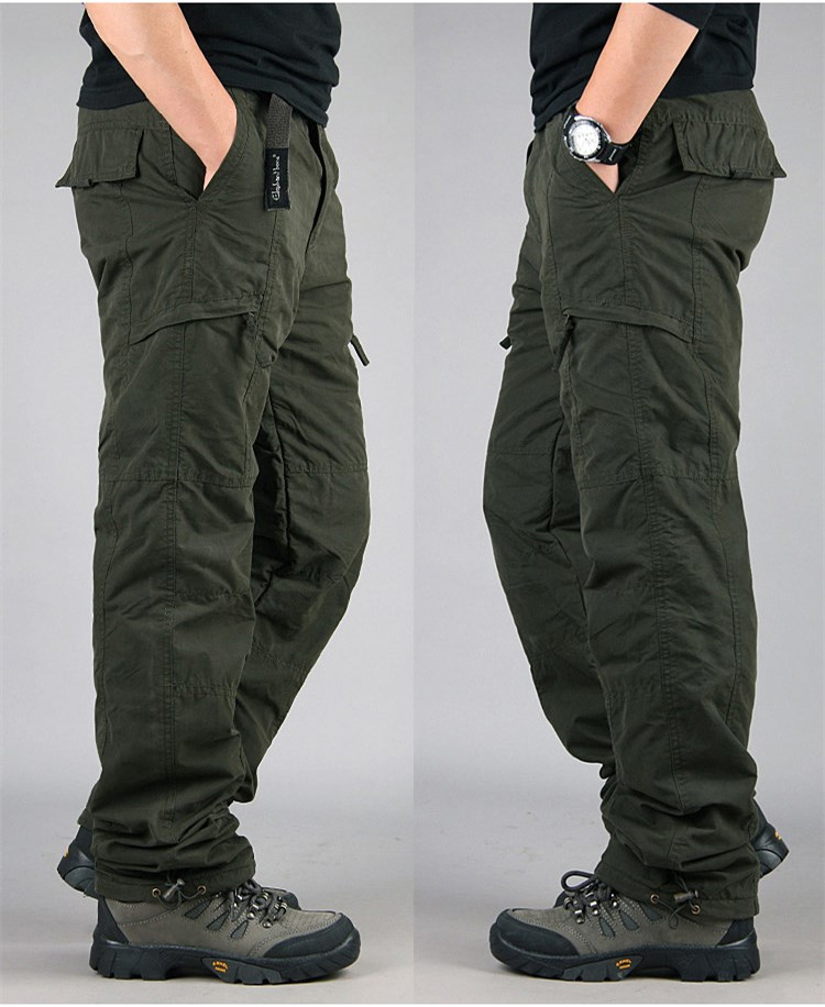 Men's Cargo Pants 2019 Winter Casual Warm Thicken Fleece Pants Men Cotton Multi Pockets Combat Military Baggy Tactical Pants 27