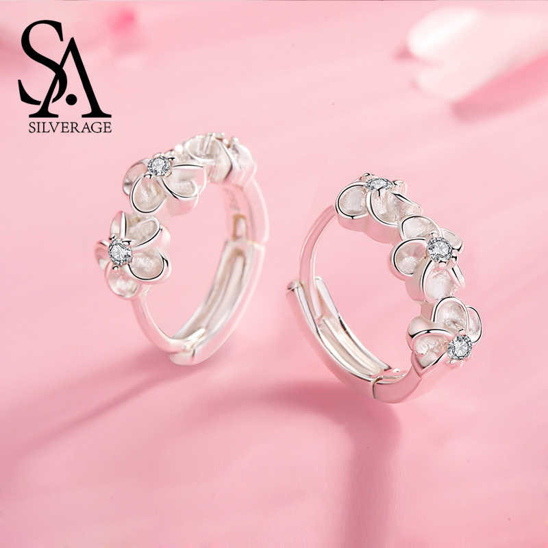 SA SILVERAGE 2019 Simple and Joker Female Earring New S925 Sterling Silver Flower Stud Earrings Woman 925 Silver Zircon Earrings