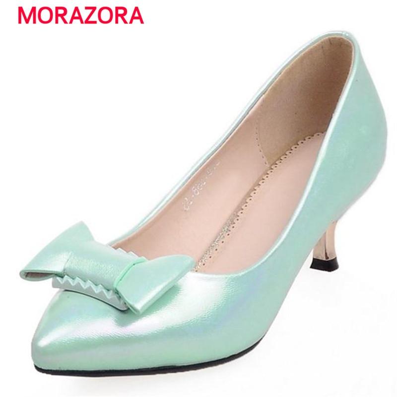 MORAZORA Sweet fashion single shoes four seasons shallow bowtie big size 34-42 high heels shoes party solid pu woman pumps видеоигра софтклаб batman рыцарь аркхема premium edition
