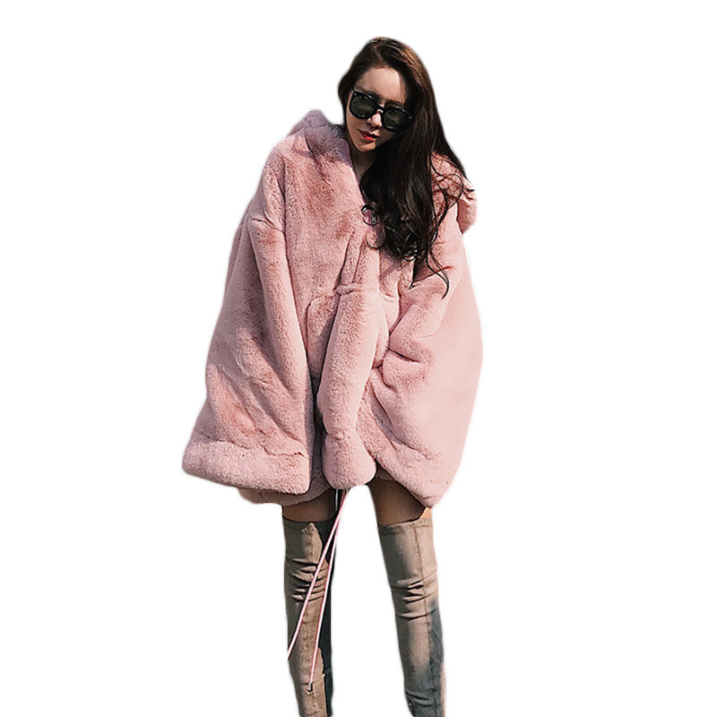 2018 Autumn Winter New Women Thick Warm Long Faux Fur Sweatshirt Loose Large Size Hooded Pullover
