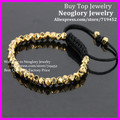 10PCS High Quality Gold Faceted Nugget Beads Bracelet,Handcrafted Braiding 4.5mm Gold Nugget Beads Macrame Bracelet