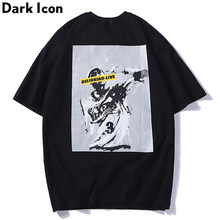 Dark Icon Black And White Printed Vintage Street Tshirt Men O-Neck Summer Short Sleeved T-shirt Men's Hipster Tee Shirt 3 Color(China)