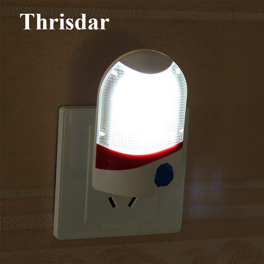 Thrisdar Light Sensor Shield LED Night Light With US Plug Bedroom Induction Baby Feeding Sleep Light Wall Socket Bedside Lamps