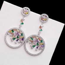 Ruifan High Quality Fashion Korean Round Colorful Cubic Zircon Long Drop Earrings for Women Allergy Free Summer Jewelry YEA071