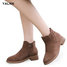 YALNN Womens Ankle Boots Winter Work & Safety Plus Size Women Shoes Flock Wedges Booties Short Plush Fur for
