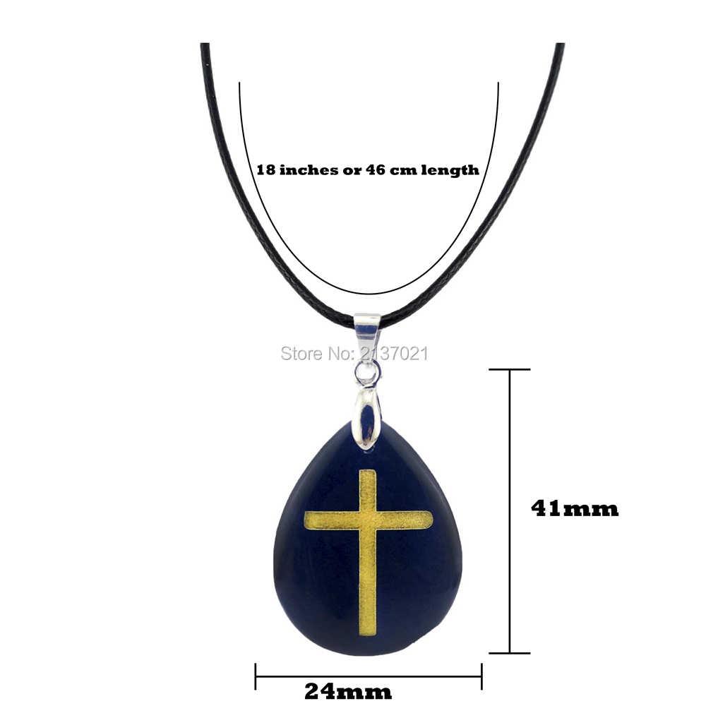 Tinh thể tự nhiên Năng Lượng đá choker necklace Obsidian Kitô Giáo chữ thập Latin pendant fasion punk Thiên Chúa đồ trang sức