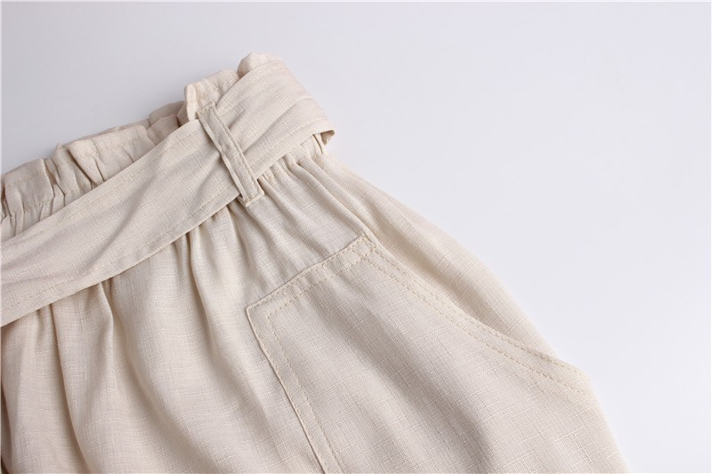 GUMPRUN 2018 Women Summer Skirt Vintage High Waist Pocket Solid Bow Belt Mini Skirts Autumn Winter New Tooling Casual Skirt 17