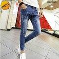 2017 chegam novas primavera outono adolescente de moda hip hop designer de cintura baixa jeans skinny homens calças lápis tornozelo-comprimento calças 28-34