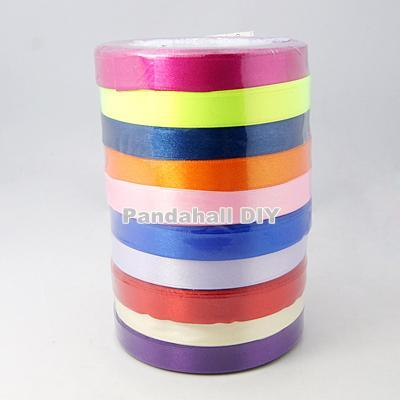 Valentine's Day Presents Boxes Packages Satin Ribbon, Mixed Color, 12mm, 25yards/rolll, 250yards/group, 10rolls/group