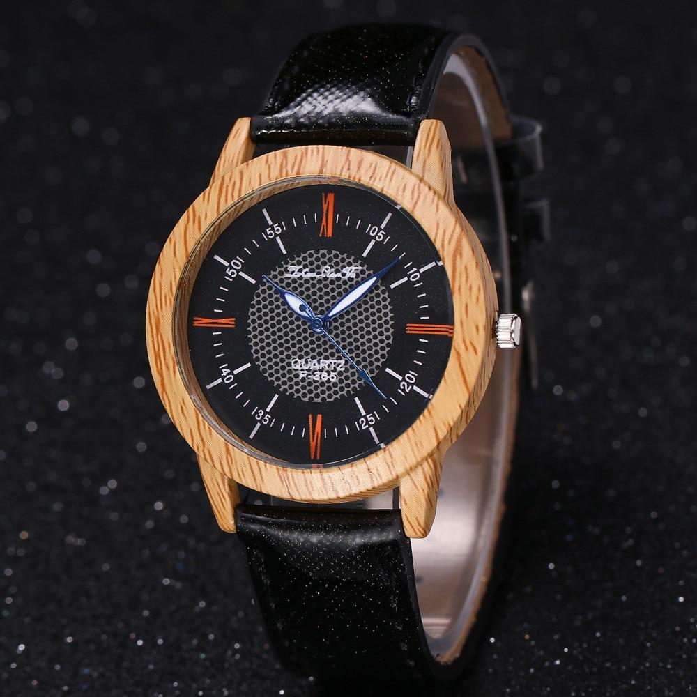 Women Watches Bracelet Clock Minimalist Fashion Ladies 40Q Wooden-Grain Feminino Cool