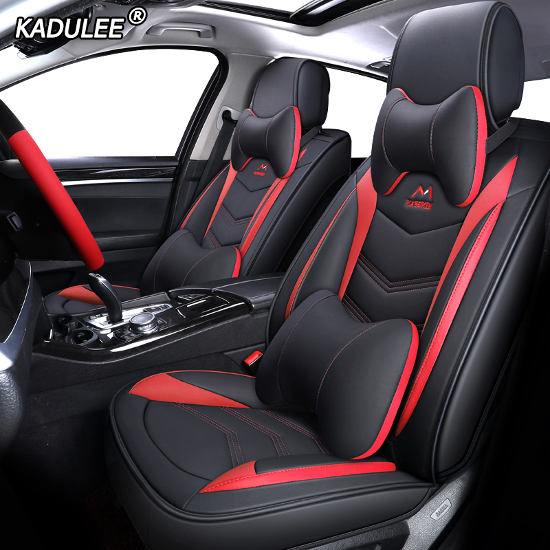 KADULEE Leather car seat covers for volkswagen gol vw polo passat golf caddy lupo Tiguan Sharan Phaeton Automobiles Seat Covers