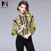 Merchall Women Autumn Design Runway Shirt Blouse Long Sleeves Retro Print Top Fashion Turn Down Collar OL Style Vintage