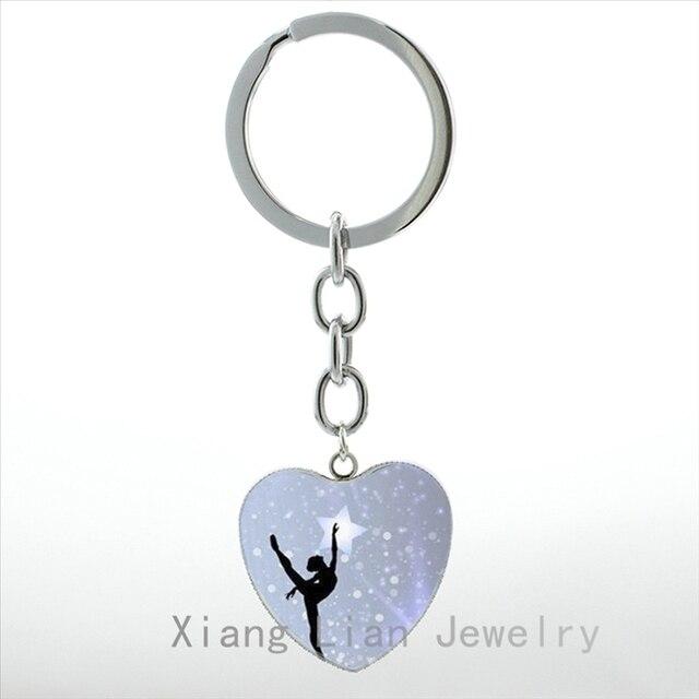 Elegant Ballet Dancing keychain Irish Dance Gymnastics Dancer Ballerina key chain ring Snowflake Custom Christmas jewelry HP145