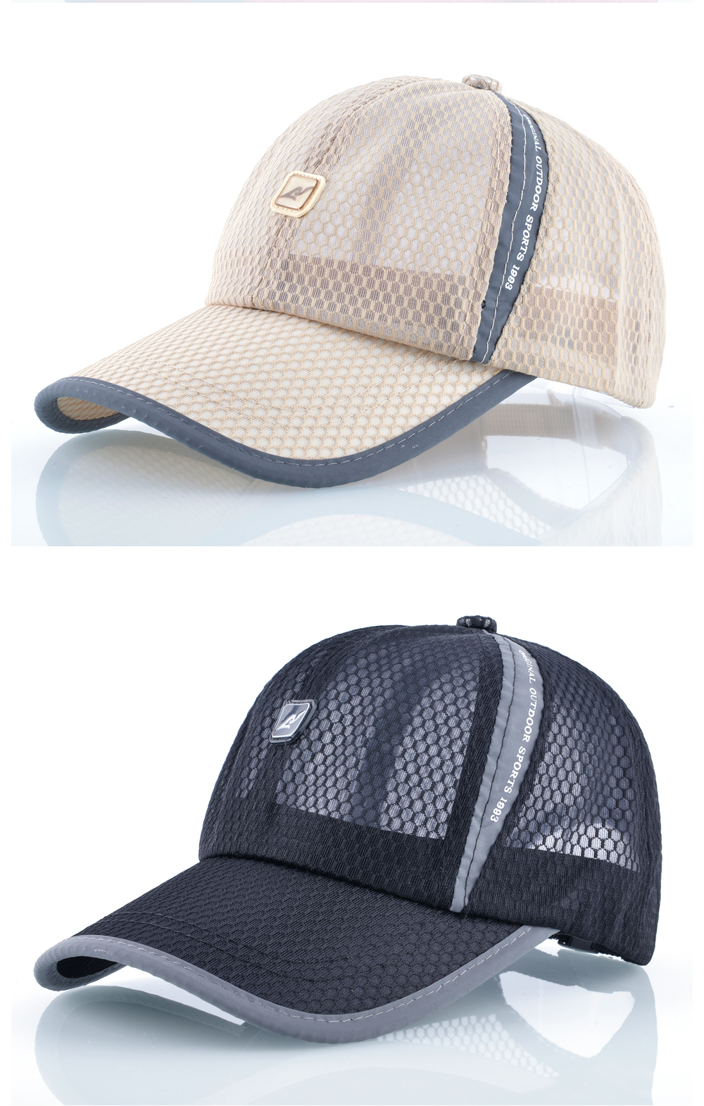 Open Mesh Breathable Baseball Cap - Beige Cap and Black Cap Front Angle Detail Views