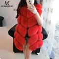 Alta Qualidade Do Falso Fox Fur Vest Mulheres Coletes Vermelhos 2016 de Inverno grosso Quente Colete De Pele de Moda de Luxo Casaco De Pele Jaqueta Colete Feminino PC145