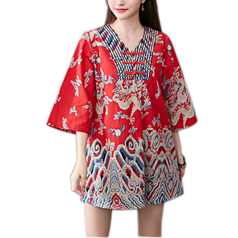 Three Quarter Flare Sleeve Ethnic Style Tops Embroidery National Chinese Retro Cotton   Blouse     Shirts   Big Size Loose Casual S5011