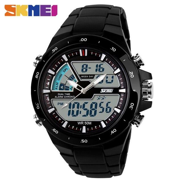 SKMEI 1016 Men Digital Quartz Wristwatches 2 Time Zone Waterproof LED Fashion Clocks Relogio Masculino Outdoor Sports Watches