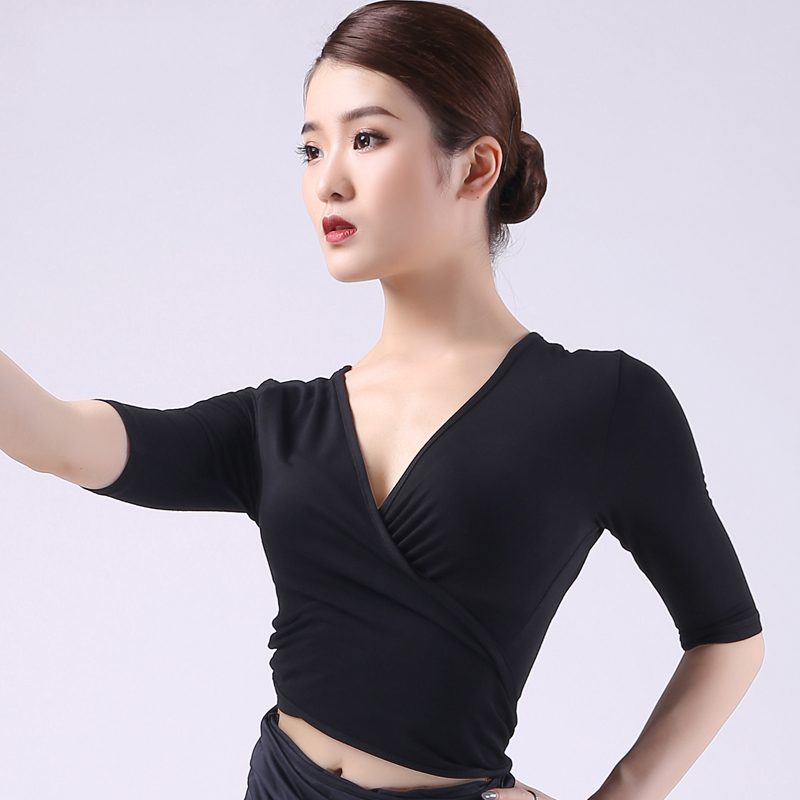 Latin Top Black Short Sleeve V Neck Shirts Women Rumba Salsa Cha Cha Samba Tango Dancing Clothes Adult Practice Wear DNV11672