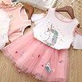 Bear Leader Girls Clothing Sets Princess Dress Girls Cartoon Sleeve Letter T-shirt+Cartoon Embroidery Skirts 2Pcs for Dress Girl