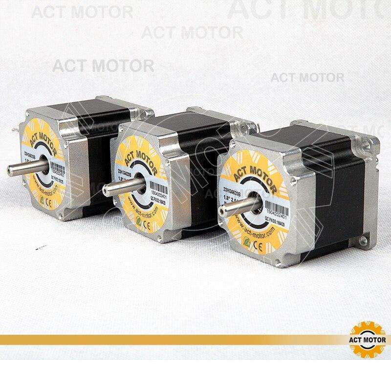 ACT Motor 3PCS Nema23 Stepper Motor 23HS6620B Dual Shaft 185oz-in 56mm 2A 6-lead 2Phase CE ROHS ISO US CA UK DE FR IT DK Free