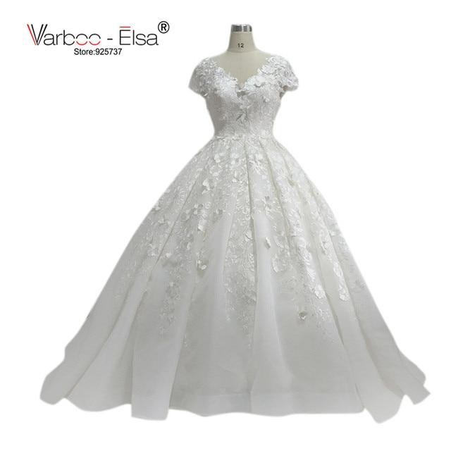 f70b075ad0 Elegant Vintage Wedding Dress V Neck Lace Appliques Flower Chapel Train Cap  Sleeve Ball Gown Wedding