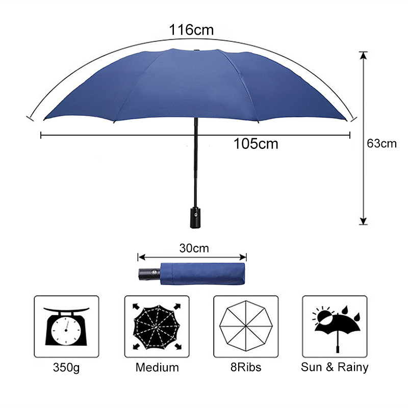 Reverse Umbrella Automatic 3 Folding Umbrella Rain Women Windproof Big Umbrella Men Business Umbrellas Waterproof Paraguas