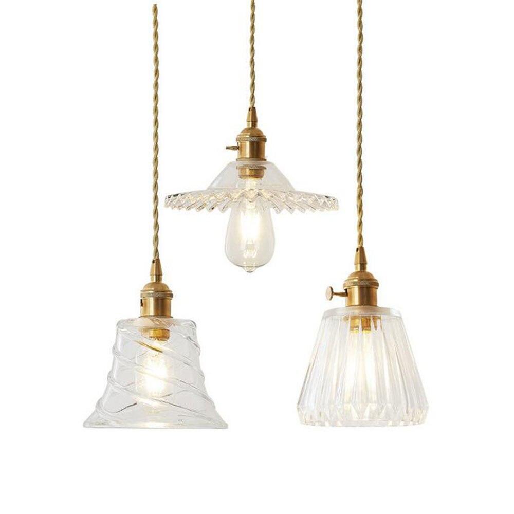 Glass Pendant Light Nordic Pendant Lamp Copper Lamp Brass Creative Minimalist E27 Transparent Lampshade For Restaurant Light