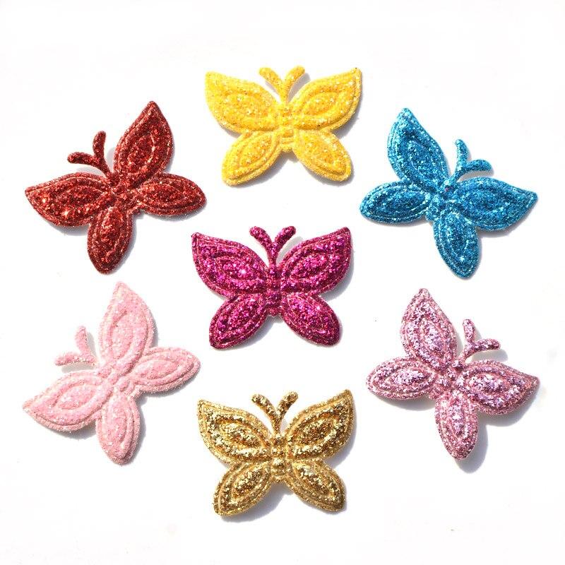 30 шт. разноцветные, блестящие кожа Мягкий Бабочка войлочные Аппликации для DIY Швейные принадлежности детей аксессуары для творчества K24