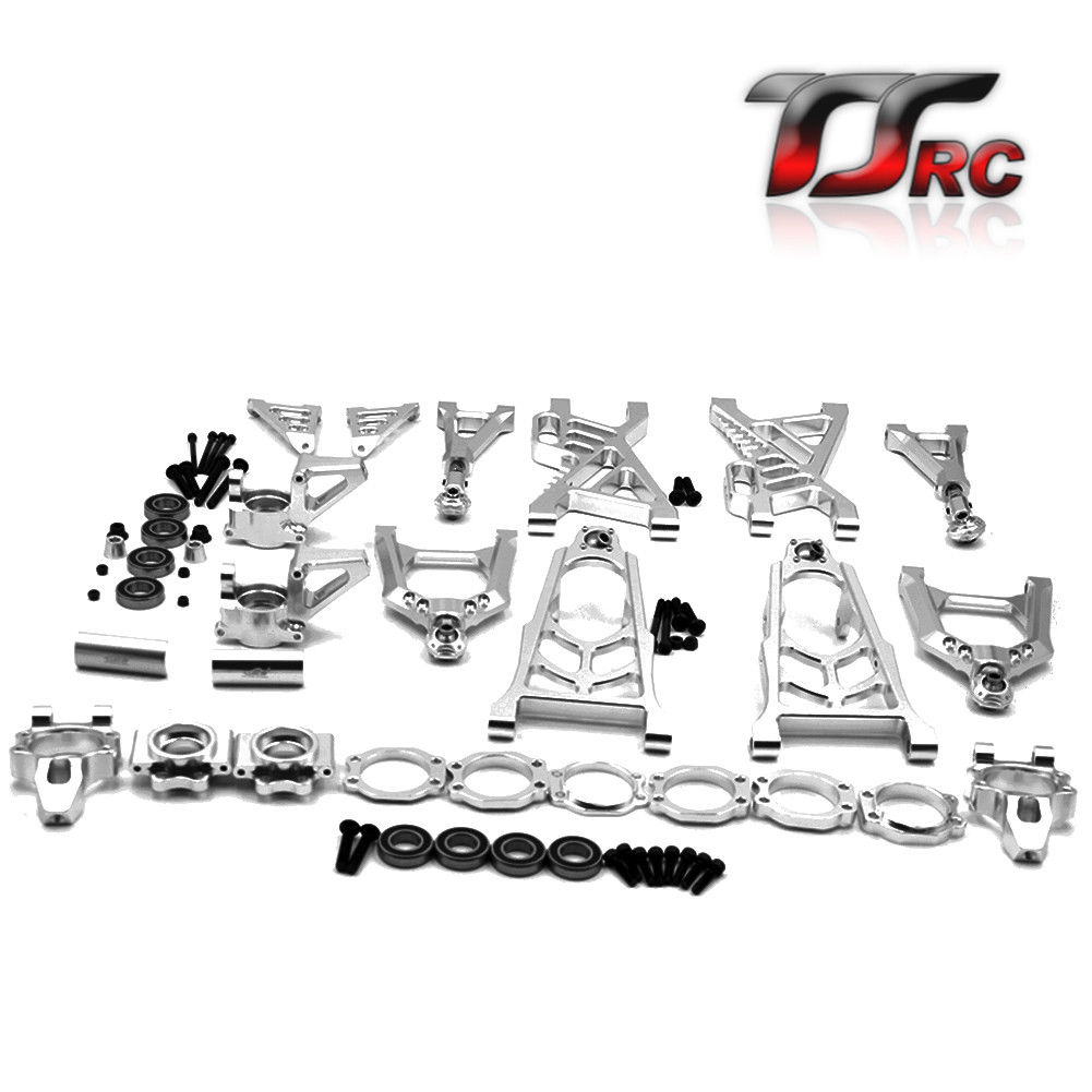 Alloy arm and hub carrier complete set for HPI ROVAN BAJA 5B 5T KM 5B T2000 TRUCK PARTS metal baja 5t wheel hub set two rear and two front wheels and beadlocks for 1 5 hpi baja 5t parts rovan km