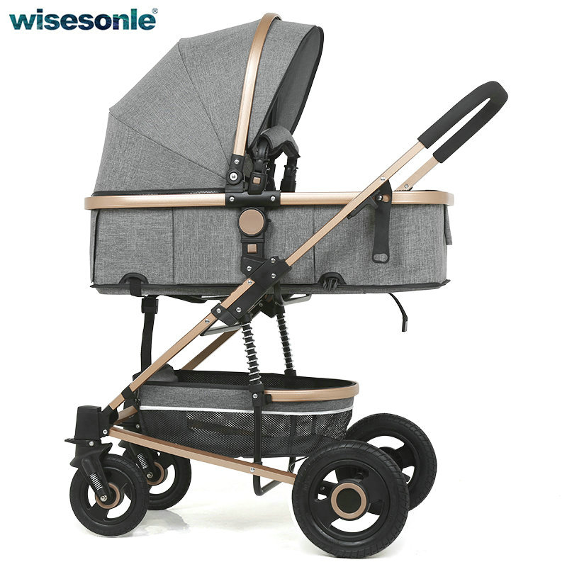 Wisesonle 3 and 1 Baby stroller high landscape light can sit reclining folding shock absorber four wheel baby baby stroller