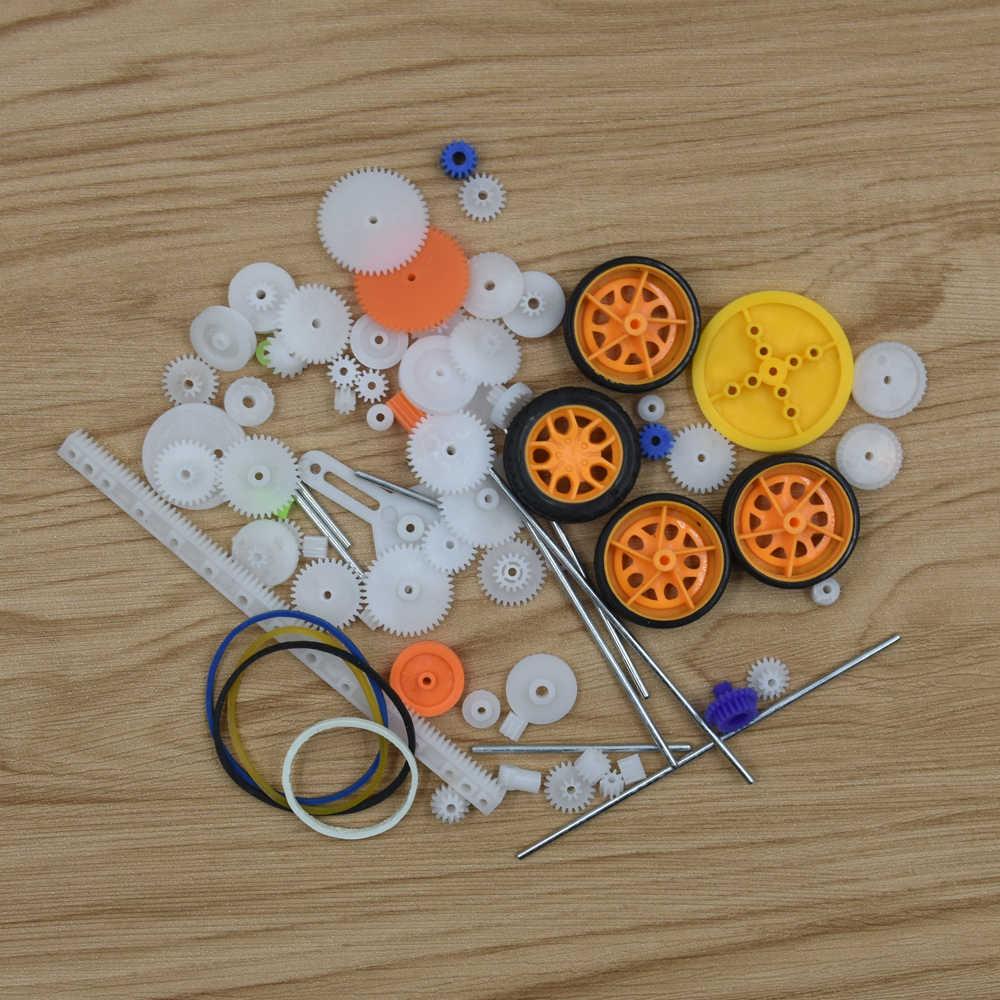 78 шт. Пластик Шестерни коробки DIY четыре колеса авто игрушка робот RC Carft шкив Модель двигателя детская DIY ремонт Toolkit