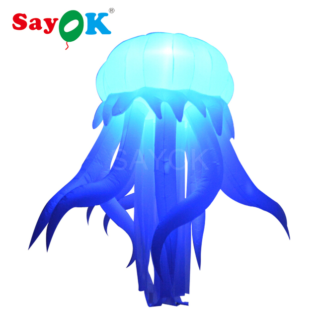 Giant Inflatable LED Decoration Hanging Jellyfish Glowing with 16 Colors 11.48-feet for Home Bar Wedding Party Stage Decorations