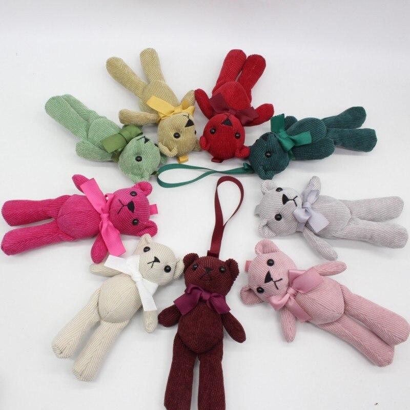 20PC Lot Mixed 15cm DIY Stripe Bow Tie Teddy Bear Plush Toy Woman Bag Cellphone Home