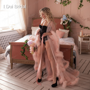 Image 3 - Marabou Robe Blush Pink Feather Bridal Robe Tulle Illusion Wedding Gift Ceremony Party Wear Dressing Gown