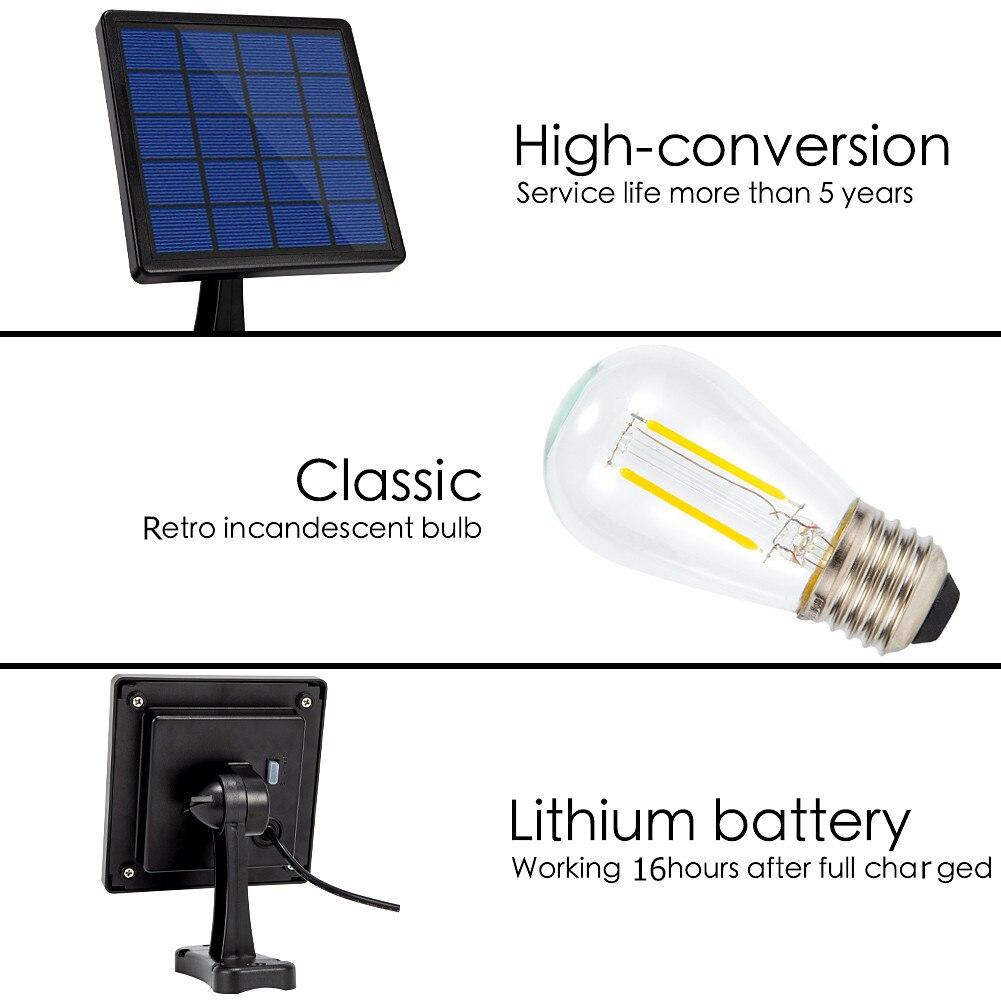 Image 3 - Ousam светодиодный светильник на солнечной батарее, люстра, Подвесная лампа с питанием от солнечной энернии, 3 метра, шнур, традиционная лампа Эдисона, подвесной Солнечный садовый светильникСветодиодные солнечные лампы    АлиЭкспресс