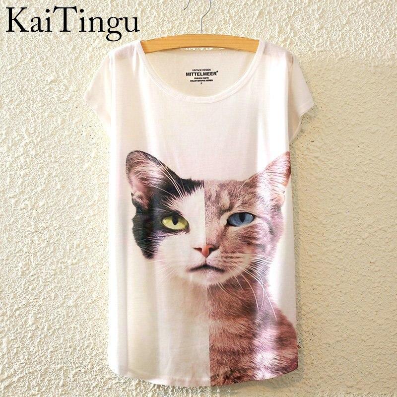 HTB1E.NILpXXXXaNXVXXq6xXFXXXe - New Fashion Summer Animal Cat Print Shirt O-Neck Short Sleeve T Shirt
